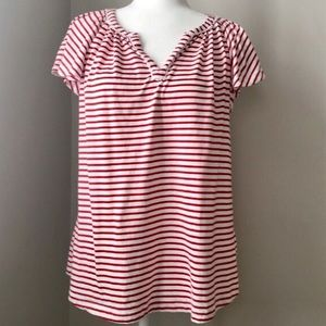 Red Stripe Short Sleeve Shirt Size Small